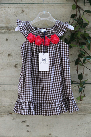 Girls cotton check dress with flowers - Piccola Ludo