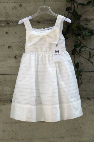 Girls white cotton dress with bow - Piccola Ludo