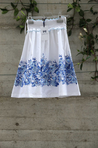 White dress with blue flowers - Piccola Ludo