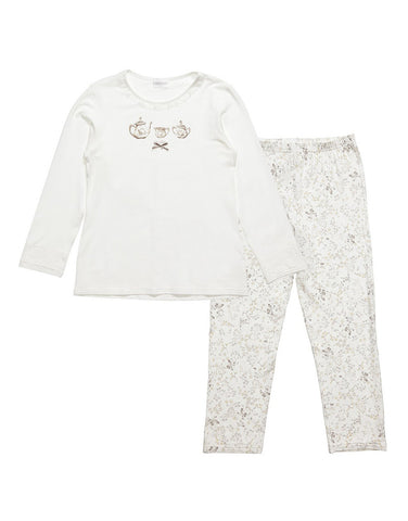 Girls Jersey White Two Piece Pajamas