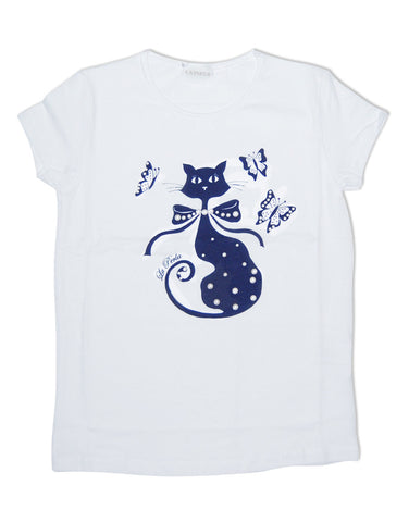 Girls white cotton t-shirt with cat - La Perla