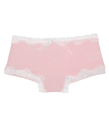 Girls cotton pink knickers with white lace - La Perla