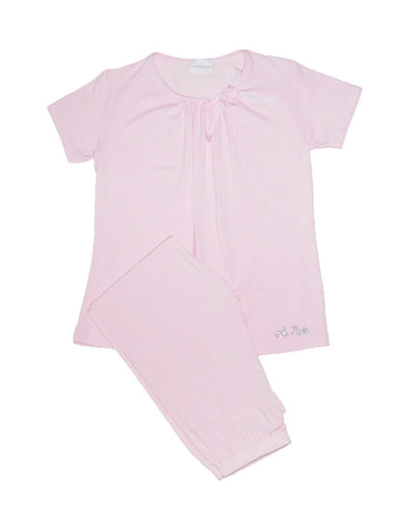 Girls Pink Short Sleeve Pyjama Set