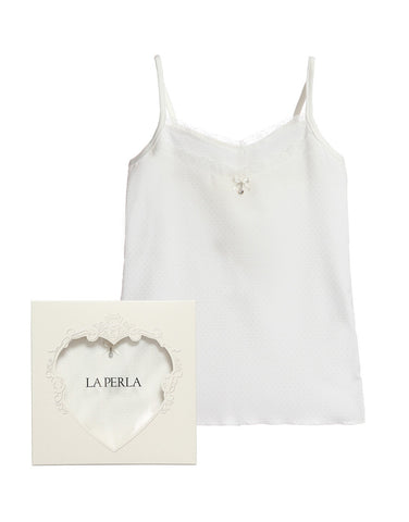 Girls white modal cotton vest - La Perla