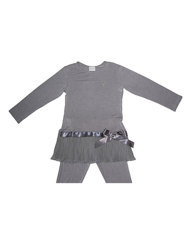 Girls Grey Cotton Two Piece Pajamas