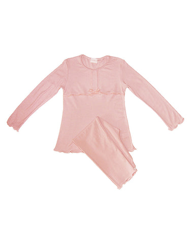 Girls Cotton Pink Two Piece Pajamas