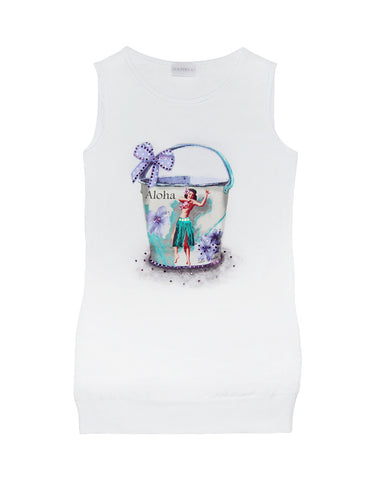 Girls white cotton dress with print - La Perla