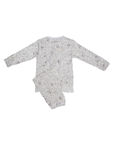 Kids White Cotton Pyjama With Flowers