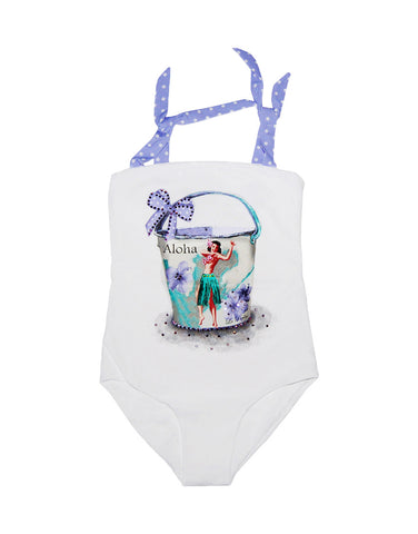 "Girls white swimsuit with ""Aloha"" print - La Perla"