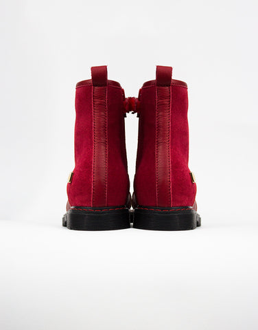 Red Suede Leather Girls Boots