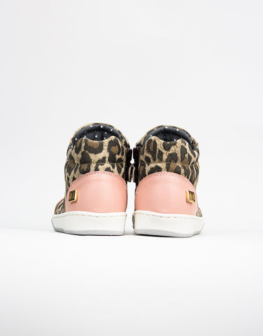 Leopard Leather Girls Trainers
