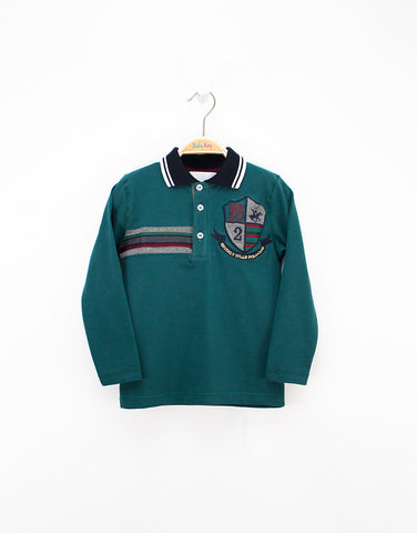Boys Green Long Sleeve-polo Shirt