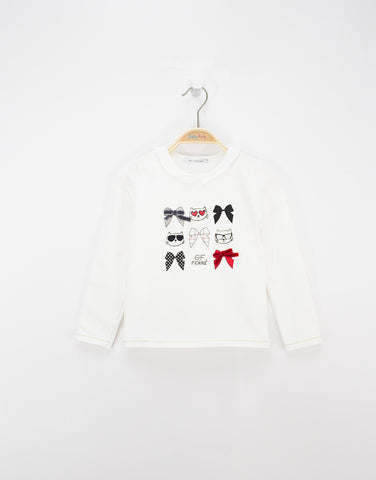 Girls white long sleeves cotton t-shirt with print