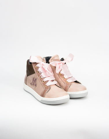 Pink With Crystals Girls High-top Sneaker