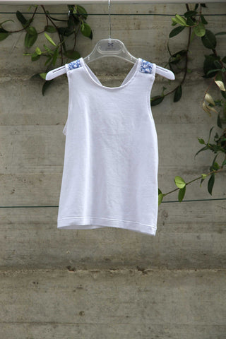 Girls white cotton top - Piccola Ludo