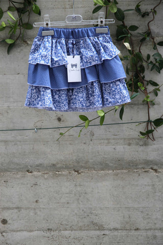 Girls cotton blue skirt with flowers - Piccola Ludo