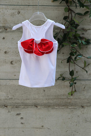 Girls white cotton top with red flower - Piccola Ludo