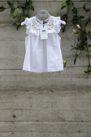 Girls white cotton top with lace flowers - Piccola Ludo