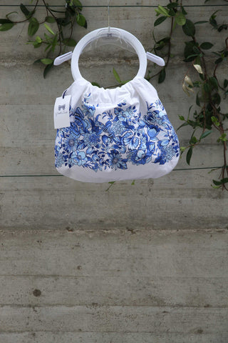 Girls white bag with blue flowers - Piccola Ludo
