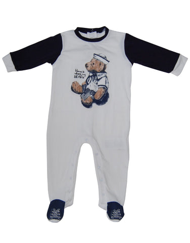 Baby white cotton bodysuit with Teddy Bear - Mash