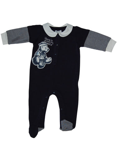 Dark blue cotton Teddy Bear baby-grow - Mash