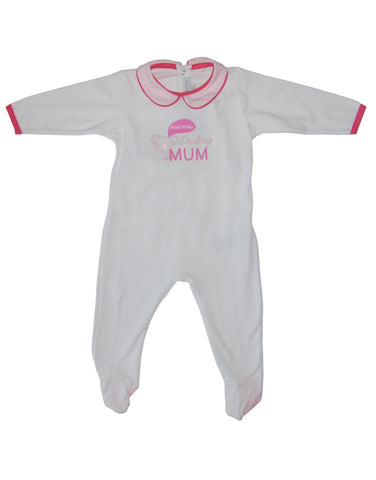 White cotton baby-grow with Mom print - Mash
