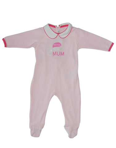 Pink cotton baby-grow with print - Mash