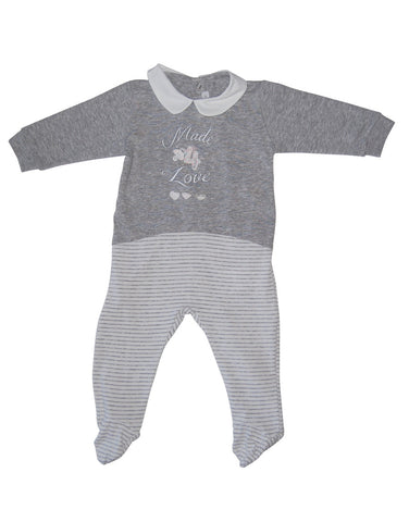 Grey cotton baby-grow  with collar - Mash