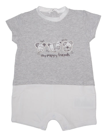Grey cotton baby-grow with puppies - Mash
