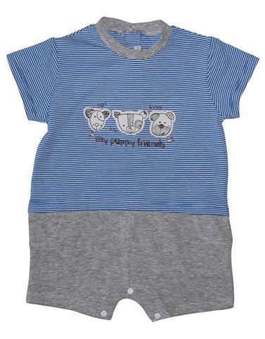 Boys cotton blue romper with puppies - Mash