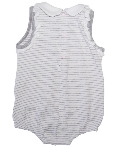 Grey cotton stripped baby-grow - Mash