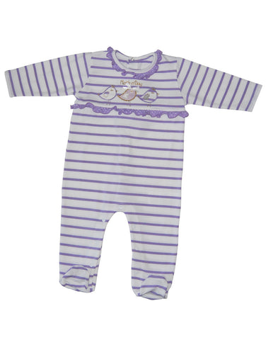 Baby cotton white and purple stripes baby-grow - Mash