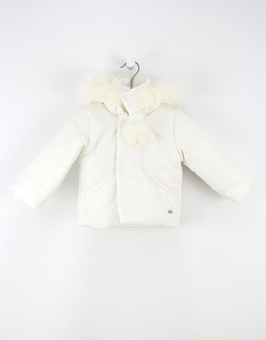 Baby White Jacket With Hood