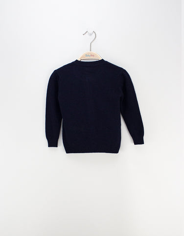 Girls Merino Navy Blue Cardigan