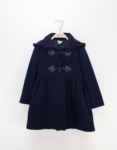 Girls Navy Cashmere Coat With Hood