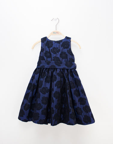 Girls Blue Dress With Roses Prints