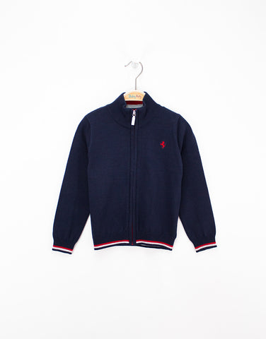 Boys Navy Cardigan With Zip