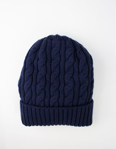 Kids navy 100% lana wool hat by Story Loris front