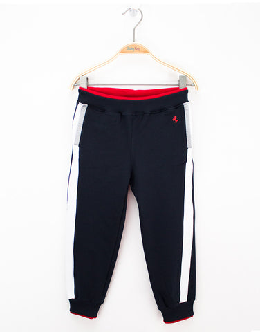 Boys Navy Jersey Sport Trousers
