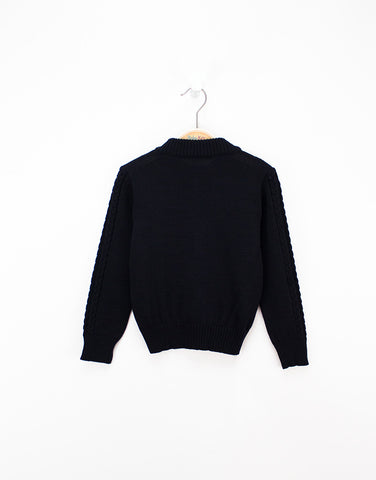 Boys Navy Wool Knitted Cardigan