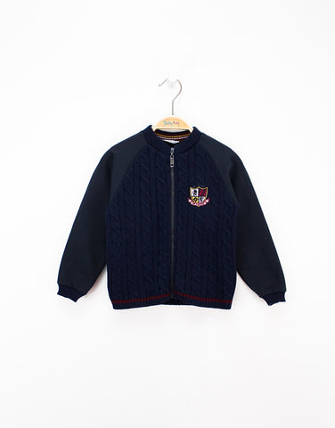 Boys Navy Zipped Knitted Cardigan