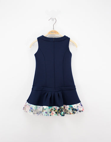 Navy Cotton Dress With Bow