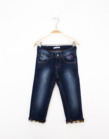 Navy Cotton Jeans