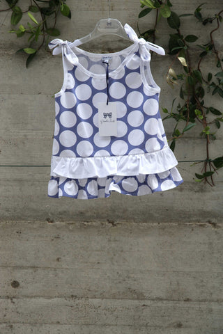 Girls white cotton top with blue pattern - Piccola Ludo