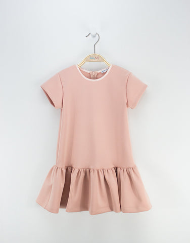 Girls Peach Dress With Hem