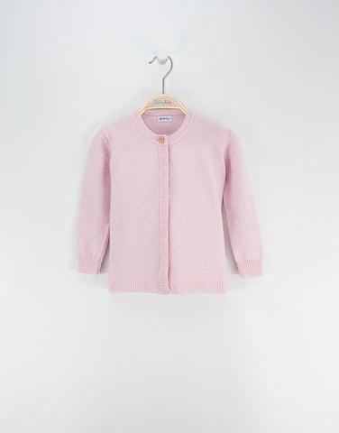 Girls Pink Merino Cardigan