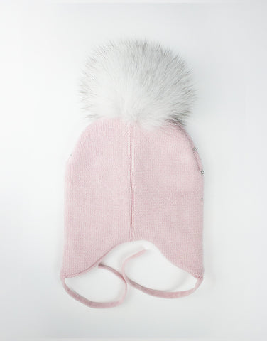 Baby Girls 100% Cashmere Pink Hat With Pom-pom
