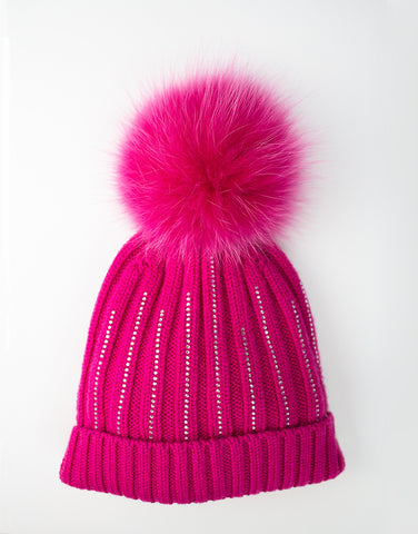Girls 100% lana wool hot pink hat with pom-pom