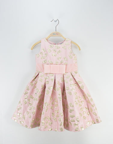 Girls Pink Dress With Hearts Prints