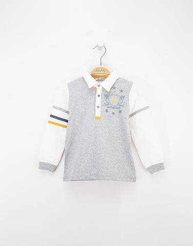 Grey Boys Cotton Polo Shirt With Logo